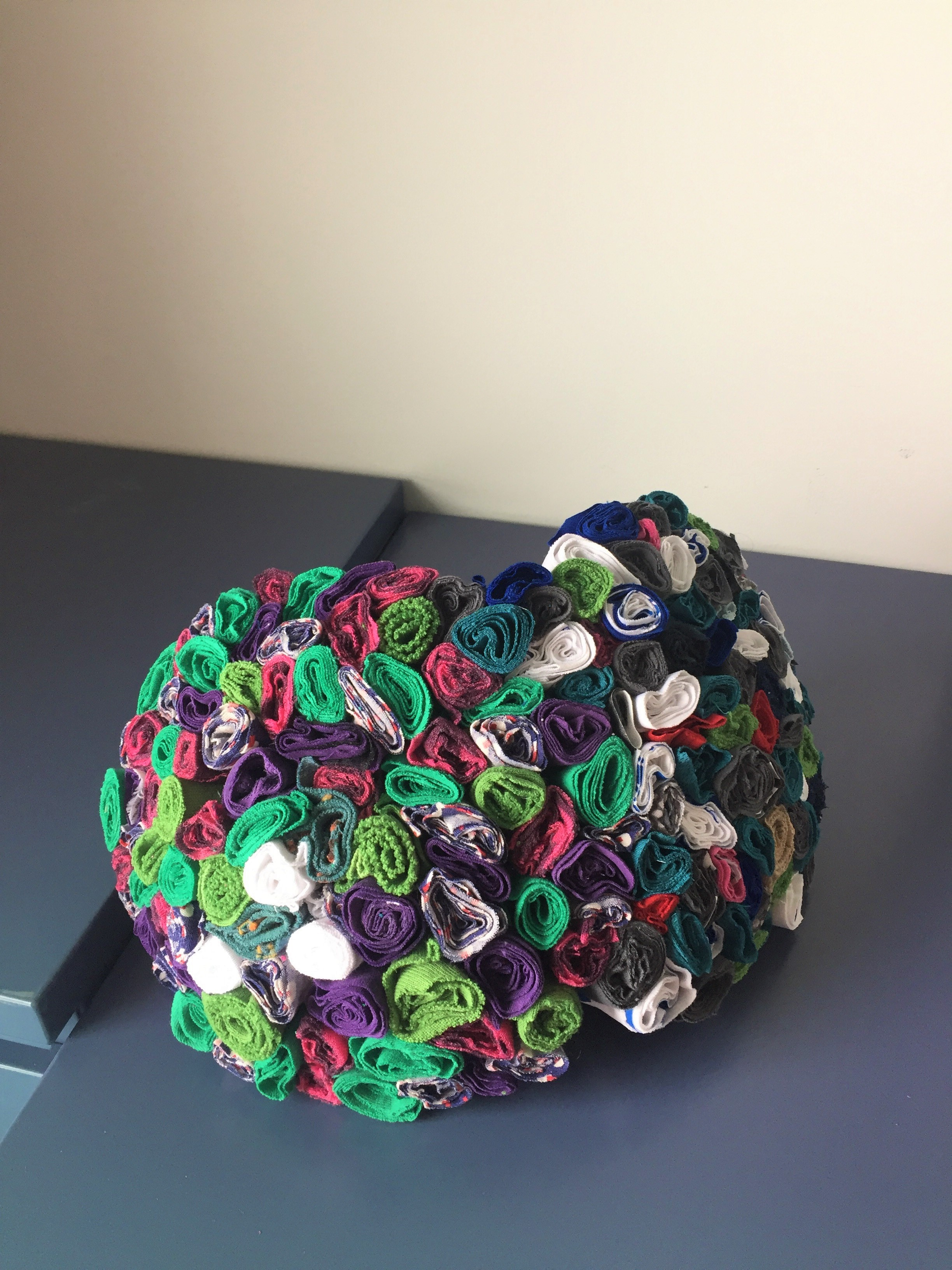Rolled fabric sculpture