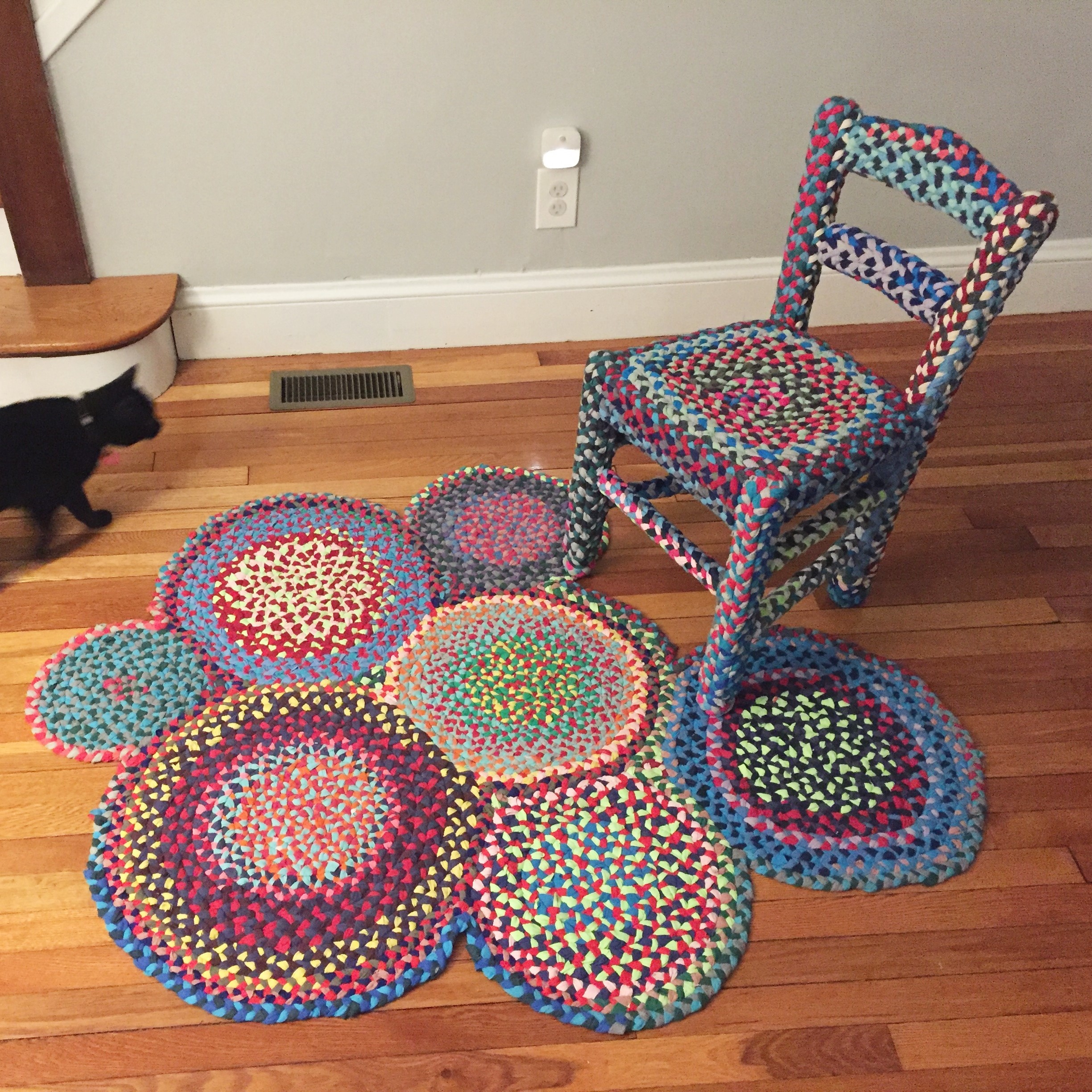 rag rug with chair